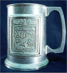 Pewter tankard with USS POLLACK emblem