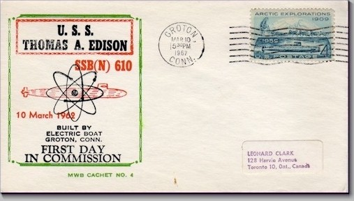 SSBN-610 1st day in Commission cover