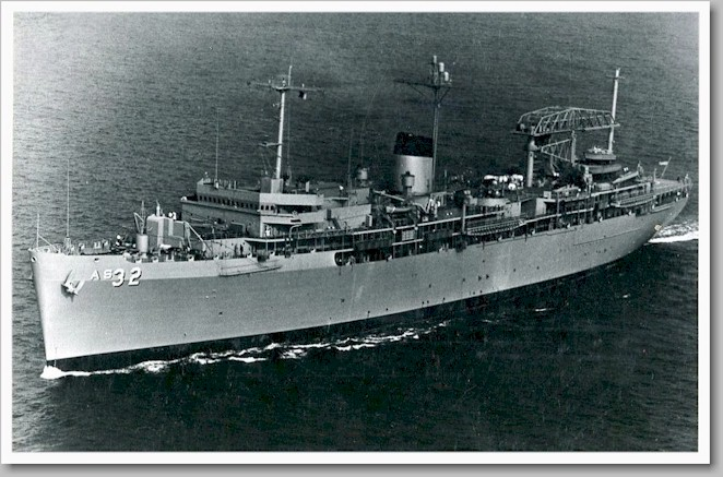 B&W photo of the USS Holland (AS-32)