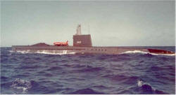 USS Halibut with test bird - image