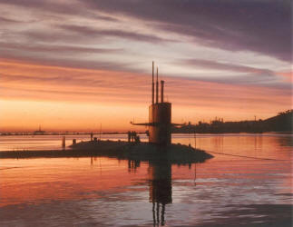 USS Sunfish (SSN 649) at sunset